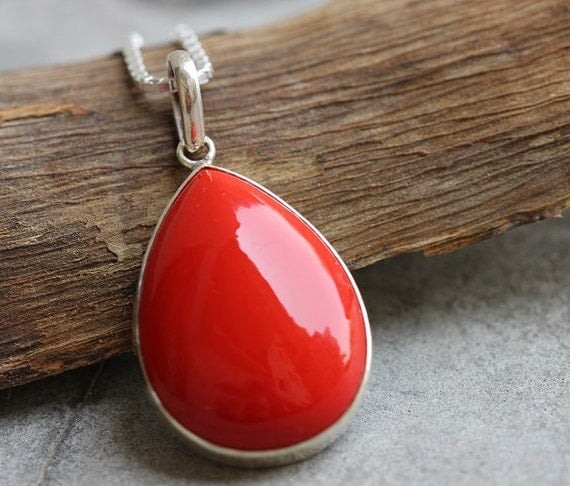 Red Coral Chandelier With 3 Lights: Red Coral Pendant Drop Pendant Bezel Set Pendant By Studio1980