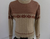 vintage 1980s mens ski sweater snow flake fair isle - Medium - M - Large - L