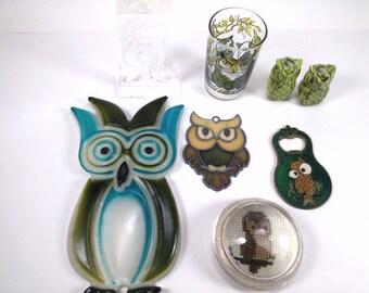 Vintage 8 different kinds of owl plastic ceramic metal glass spyglass owl