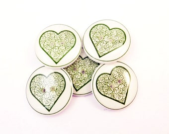 """5 Green Heart Buttons.  Lace Look Green Heart Sewing Buttons. 3/4"""" or 20 mm Round."""
