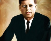 John F. Kennedy Print painting President of the United States  Birthday Gift art canvas wall decor giclee