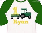 Tractor birthday shirt - green yellow chevron personalized birthday shirt - plow tractor