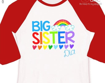 Big sister shirt colorful rainbow and hearts big sister personalized raglan Tshirt