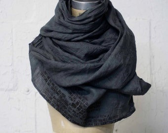 008 gray linen printed hand dyed scarf