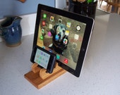 Wood iPad Stand, Tablet Stand, Red Oak