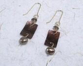 Chocolate Pearl Dangles Smoky Quartz Earrings Gold Earrings Brown Gemstone Drops Brown Dangles Chocolate Brown Earrings Brown Shell Drops