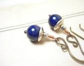 Lapis earrings dangle sterling silver brass navy blue  pamelasjewelry