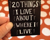 LIMITED EDITION: 20 Things I Love About Where I Live Booklet