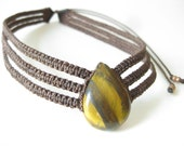 Tiger Eye Choker Necklace Jewelry Micro Macrame . Boho Hippie Chic Jewelry . Metal Free Natural Organic Jewellery . by raïz