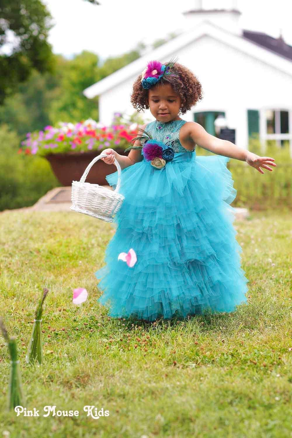 Peacock Flower Girl Dress Toddler Flower Girl by PinkMouseKids