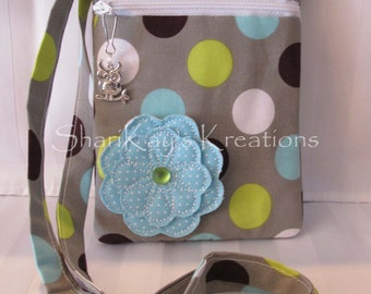 Taupe Fabric with Various Colored Dots Hipster Purse with Turquoise Fabric Flower, Shoulder Strap, and Zipper Pull