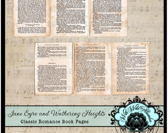 Jane Eyre and Wuthering Heights Classic Book Pages Digital Collage Sheet, ACEO Size, ATC, Printable Book Pages, Gift Tags