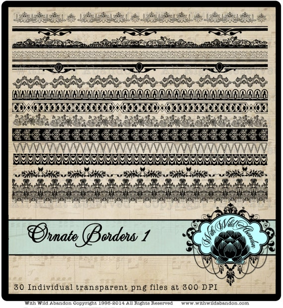 Border Clipart, Ornate, Victorian, Edwardian Clipart Elements, Overlays, digital stamps or Illustrations