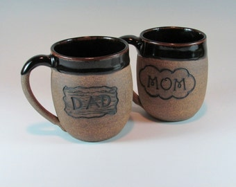 Mom and Dad Mugs - Ceramic Mug Set - Couples Gift - Anniversary Set - Handmade Mug - Wheel Thrown Mug - Stoneware Coffee Cup - Pottery Mug