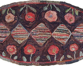 Garden Path Pattern PDF for rug hooking and punchneedle embroidery