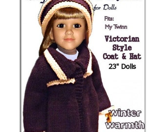 Knitting Pattern, fits all 23 inch dolls, My Twinn PDF Instant Download 626