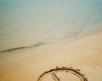 PEACE Beach Sand Writing Fine Art Print - Travel, Scenic, Landscape, Nature, Home Decor, Zen