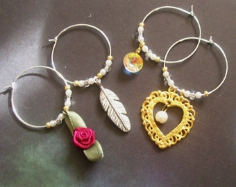GYPSY wine charms - Set of 4 drink markers - Inspired by STEVIE NICKS - Boho Barware