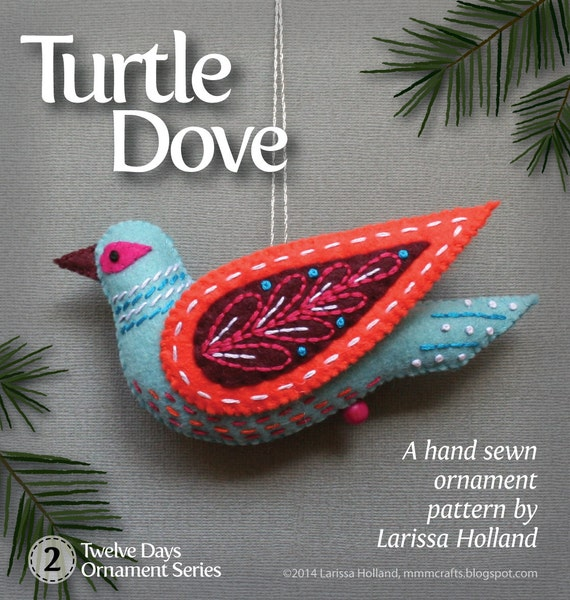 Turtle dove pdf pattern for a hand sewn wool felt ornament for Turtle dove template