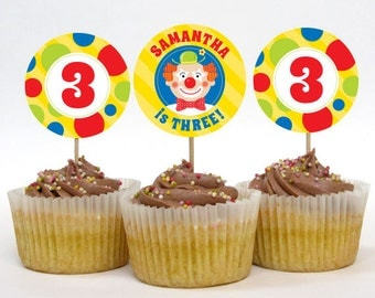 Personalized Clown Party Cupcake Toppers – 2 Inch Circles – DIY Printable (Digital File)