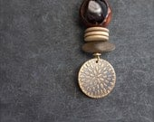 Etched Brass Amethyst Pendant Necklace Rustic Purple Textured Seeds Brown Bone Natural Wood Boho Jewellery