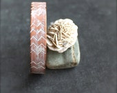 White-washed Chevron Cuff Bracelet Rustic Patina Textured Peach Copper Tribal Fashion Jewelry