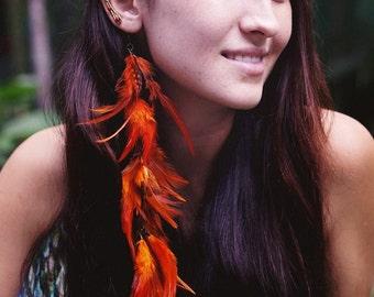 Carnelian & Coral Elf Ear Ear Cuff Pair w/ unique wirework and long feather, Elf Ears, Elvish, Elven Ears, Pixie Ears, Fairy Ears,