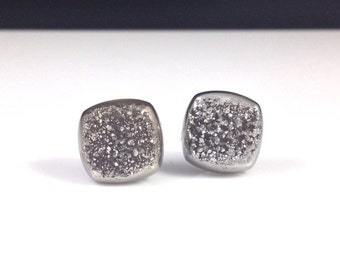 Rounded Square Silver Druzy Drusy Post Stud Earrings