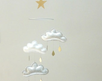 "Mobile ""KATIE"":Silver,White,Silver cloud mobile for nursery with gold star by The Butter Flying-Rain Cloud Mobile Nursery Children Decor"