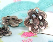 Small Silver flower pendant blank setting for 6 mm cab & flat back rhinestone , oxidized rustic antique finish , Sterling Silver plated