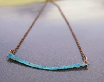 Curved bar necklace - patina necklace - verdigris copper - patina jewelry - layering necklace - southwest necklace - mixed metal necklace