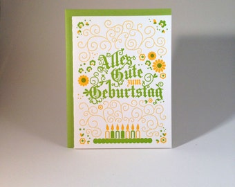 Letterpress German Birthday Card -- Alpine Green and Yellow
