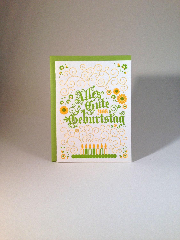 letterpress german birthday card alpine green and yellow