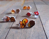 Squirrel and acorn earring studs