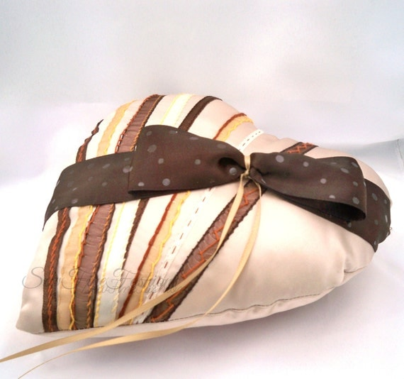 Ring Pillow, Heart Shape, Mocha Brown, Dark Brown, Chocolate Box Style