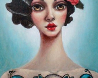 The Tattooed Lady original one of a kind oil painting on stretched canvas