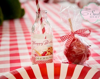 BAKING PIZZA PARTY Red Gingham printable Drink Wraps