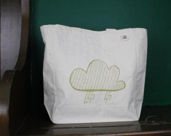 storm cloud tote bag screen printed recycled cotton canvas reusable bag gold or black ink
