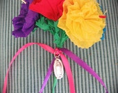 Colorful Paper Flower  Bouquet with Guadalupe Charm or Plain- Perfect for a gift or to add to your Day of the Dead altar