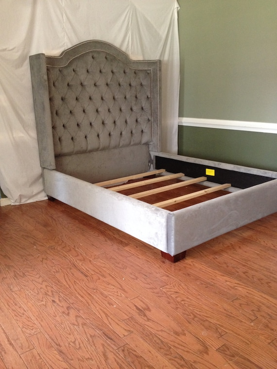 Queen Size Wing Tufted Bed with Nailheads Tufted Bed