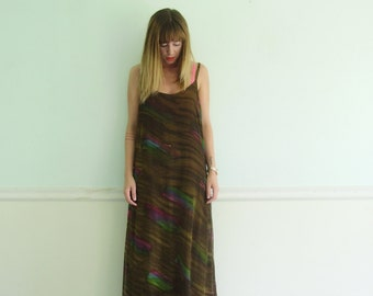 90s Brushstroke Printed Brown Double Layer Sheer Maxi Boho Dress - Vintage - MEDIUM M