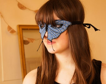 SALE -Tailed Butterfly Mask Blue Repurposed Upholstery Fabric Masquerade Mardi Gras Women Costume Accessory Nature Lover Gift for Her
