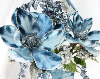 Blue Jay  Holiday Beaded Victorian Floral Arrangement in  Silver and Country Blue