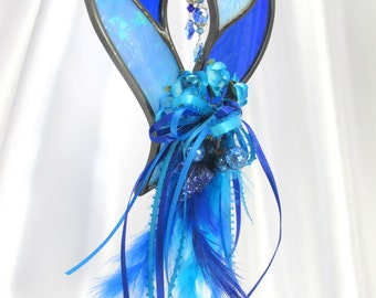 Cobalt Blue and Blue Turquoise Decorated Two Hearts as One Stained Glass Suncatcher