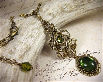 Tudor, Medieval Necklace, Olive Green Renaissance Pendant with Jewels, Medieval Jewelry, Ren Faire, Garb, Renaissance Jewelry, Avalon