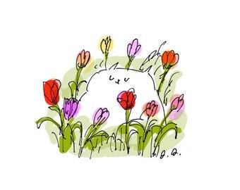 Happy Tulip Cat Print