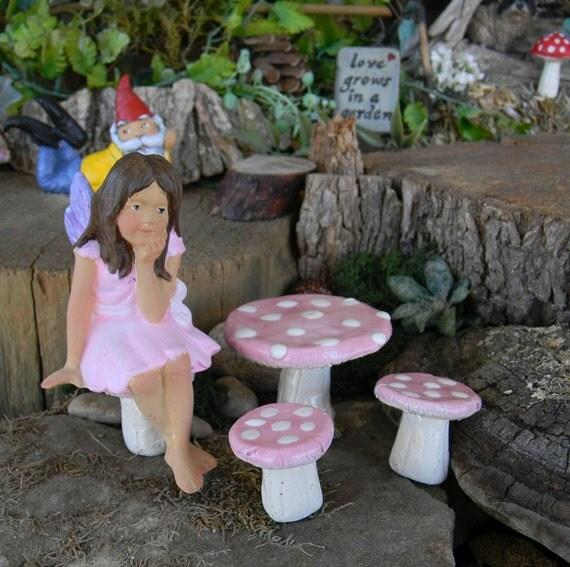 Fairy Furniture  Mushroom Table 4 Chairs   handmade ceramic 5 pc Pink  Glazed miniature garden decor