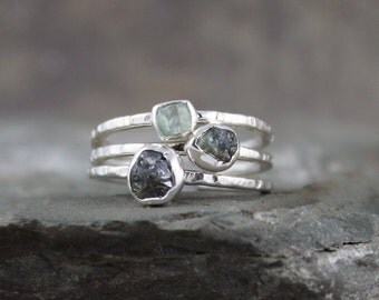 Green Sapphire Rings -  Raw Uncut Rough Sapphires - Sterling Silver Stacking Rings-Colored Gem Ring - Raw Sapphire - September Birthstone