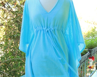 Mini Caftan Dress - Beach Cover Up Kaftan in Baby Blue Cotton Gauze - 20 Colors