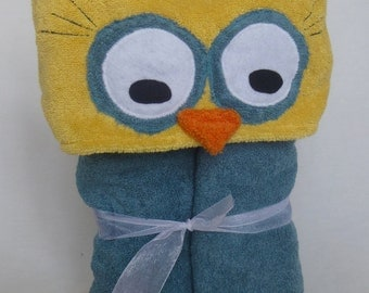 OWL hooded bath towel - TEAL Green Blue - Great Birthday or Shower Gift for baby toddler and child